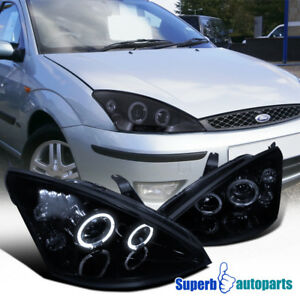 For 2000 2004 Focus Smoked Led Halo Angeleyes Projector Headlights Glossy Black