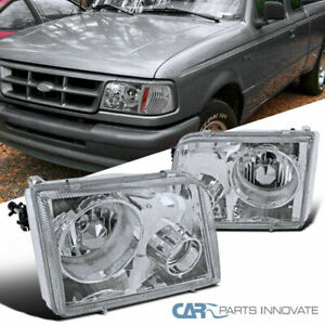 1993 1997 Ford Ranger Pickup Chrome Clear Headlights W Projector Fog Lamps Pair