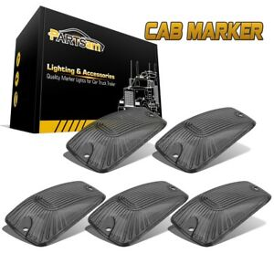 Set 5 Cab Marker Roof Clearance Light Smoke Cover Lens For Chevrolet C1500 C2500