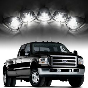 5 Smoke Roof Running Lights Cab Marker Cover xenon White 194 Led Bulbs For Ford