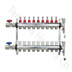 9 branch Pex Radiant Floor Heating Manifold Set Stainless Steel