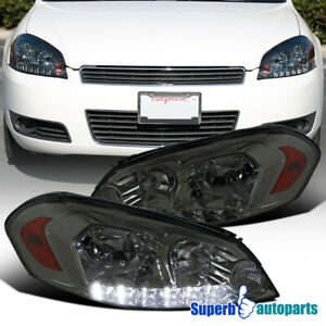 Chevy 2006 2015 Impala 2006 2007 Monte Carlo Smoke Led Headlights Head Lamps