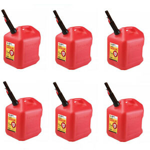 Gas Cans 5 Gallon Each 6 Pack Plastic Will Not Corrode Or Rust Brand New