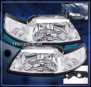 1999 2004 Ford Mustang Crystal Headlight Lamp Clear 2000 2001 2002 2003 New Pair