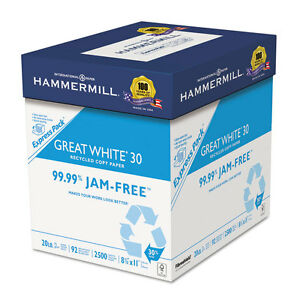 Great White Recycled Copy Paper 92 Brightness 20lb 8 1 2 X 11 2500 Shts ctn