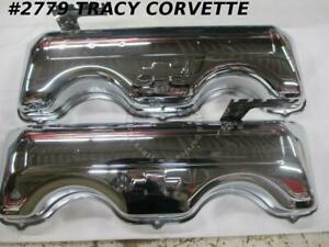 1958 1965 Chevrolet New Repro 348 409 W Chrome Valve Cover Repro Bowtie drippers