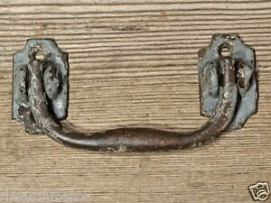 Old Drop Handle Drawer Pull Vintage Shabby Gray Paint 4 Cast Iron Furniture