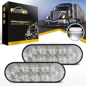 2x Clear White Oval 10 Led Reverse Fog Tail Light 6 Truck Trailer Surface Mount