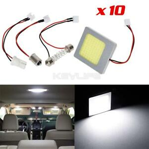 10pcs White Cob Led Panel For Car Trunk Dome Map Interior Replace Lights Bulbs