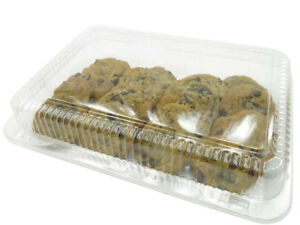 Large 12 X 8 Plastic Hinged Bakery Container Reusable disposable cpc77