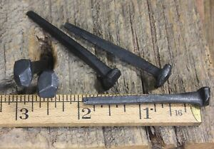 2 Rose Head 5 Nails Antique Square Wrought Iron Vintage Rustic Historic Look