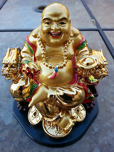 China Happy Buddha Sitting On Dragon Chair Statue 5 5h