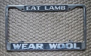 Custom eat Lamb Wear Wool License Plate Frame Chrome Tag Holder Embossed Cool