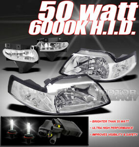 99 04 Ford Mustang Chrome Crystal Head Lights Bumper Clear Fog 50w 6000k Hid Kit