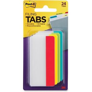 Post it Tabs Durable File Tabs 3 X 1 1 2 Solid Assorted Primary Colors 24 pack