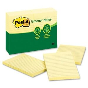 Post it Greener Notes Recycled Notes 4x6 Lined Canary Yellow 12 100 sheet Pads