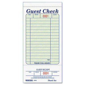 Rediform Guest Check Pad White 3 375 X 7 Inches 50 Forms 5f740