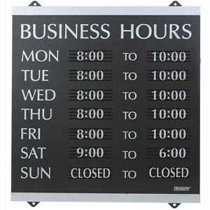 Headline Sign Century Series Business Hours Sign Heavy duty Plastic 13x14 Blk