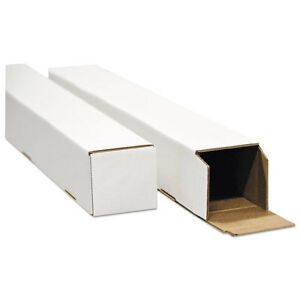square Mailing Tubes 25l X 2w X 2h White 25 pack