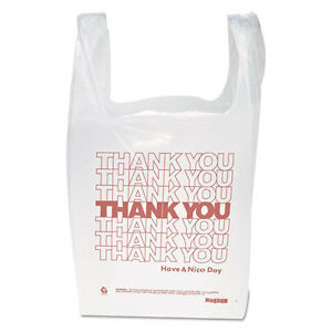 900 Inteplast Group thank You Handled T shirt Bags 11 5x21 Polyethylene