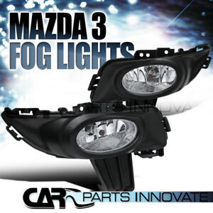 For 2003 2005 Mazda 3 4dr Clear Fog Lights Driving Bumper Lamps Pair switch