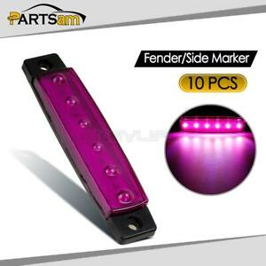 10x Purple 6led Flat Oblong Truck Bus Trailer Side Marker Indicators Lights
