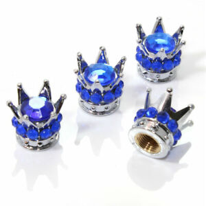 4 Chrome Crown Blue Bling Diamond Tire wheel Stem Valve Caps Car Truck Hot Rod