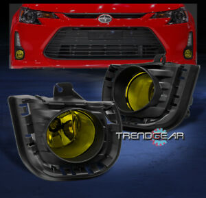 2014 2015 2016 Scion Tc Front Bumper Driving Fog Lights Lamp Yellow W Bezel Bulb