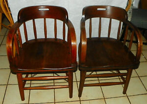 Pair Of Solid Oak Firehouse Tavern Captain Chairs By Mariette Ohio Ac67