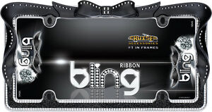 Chrome Black Ribbon Girl Dress Bling License Plate Frame For Usa Car Truck Suv