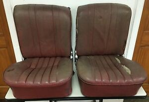 Pair Original Genuine Porsche 356 356a Recaro Red Leatherette Bucket Seats