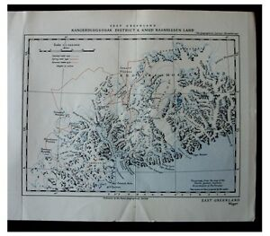 1937 Wager East Greenland Eskimo Colour Map Panorama 11