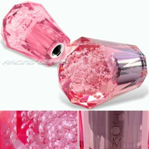 Vip 60mm Transparent Manual Pink Diamond Crystal Bubble Shift Knob Universal 2