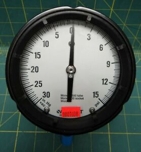 4 Ashcroft Vacuum Pressure Gauge 30 0 15 Hg Psi Bottom 1 4 Npt Connection