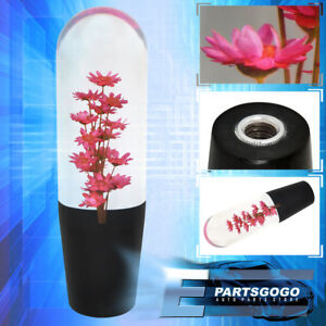 Universal 150mm Red Flower Filled Poly Shift Knob Clear Transparent