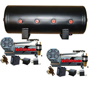 Dual Air Compressors Voltair 480c Air Bag Management Blk 5 Gallon Tank