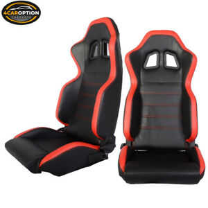 Pair Of Black Red Pvc Leather Full Reclinable Racing Seats Slider Left Right