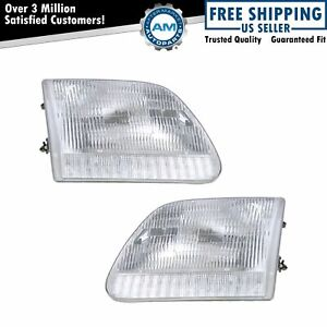Headlights Headlamps Left Right Pair Set For Expedition F series Pickup Truck