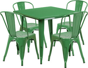 31 5 Square Green Metal Restaurant Table Set With 4 Stack Chairs