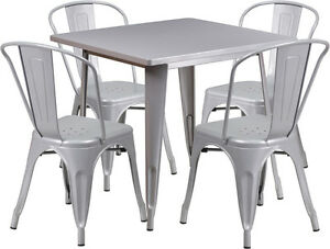 31 5 Square Silver Metal Restaurant Table Set With 4 Stack Chairs