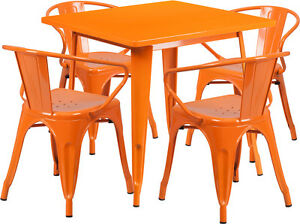31 5 Square Orange Metal Restaurant Table Set With 4 Arm Chairs