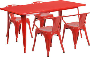 31 5 X 63 Rectangular Red Metal Restaurant Table Set With 4 Arm Chairs