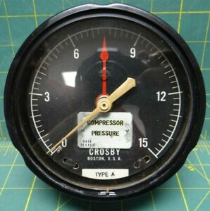4 1 2 Crosby Compressor Pressure Gauge 15 Psi Rear Lower 1 4 Connection