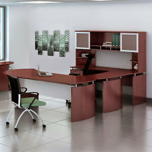 Laminate Executive 63 Desk U shaped Package Textured Brown Sugar Finish