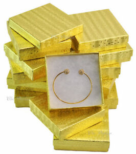 12pc Gold Gift Boxes Cotton Filled Jewelry Boxes Bracelet Gift Boxes Gold Boxes