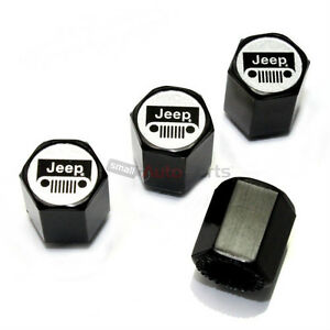 4 Jeep Silver Grille Logo Black Abs Tire Wheel Air Stem Valve Caps Covers