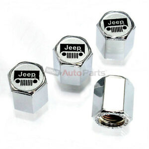 4 Jeep Silver Grille Logo Chrome Abs Tire Wheel Air Stem Valve Caps Covers