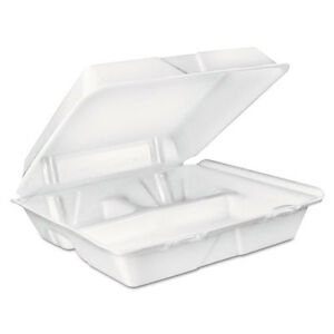 Large Foam Carryout Food Container 3 compartment White 9 2 5x9x3