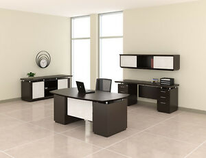 Mayline Sterling Series Textured Mocha Finished Executive Office Furniture Set