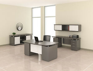 Mayline Sterling Series Textured Driftwood Finished Executive Furniture Suite